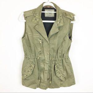 Zara Studded Green Utility Zipper Vest